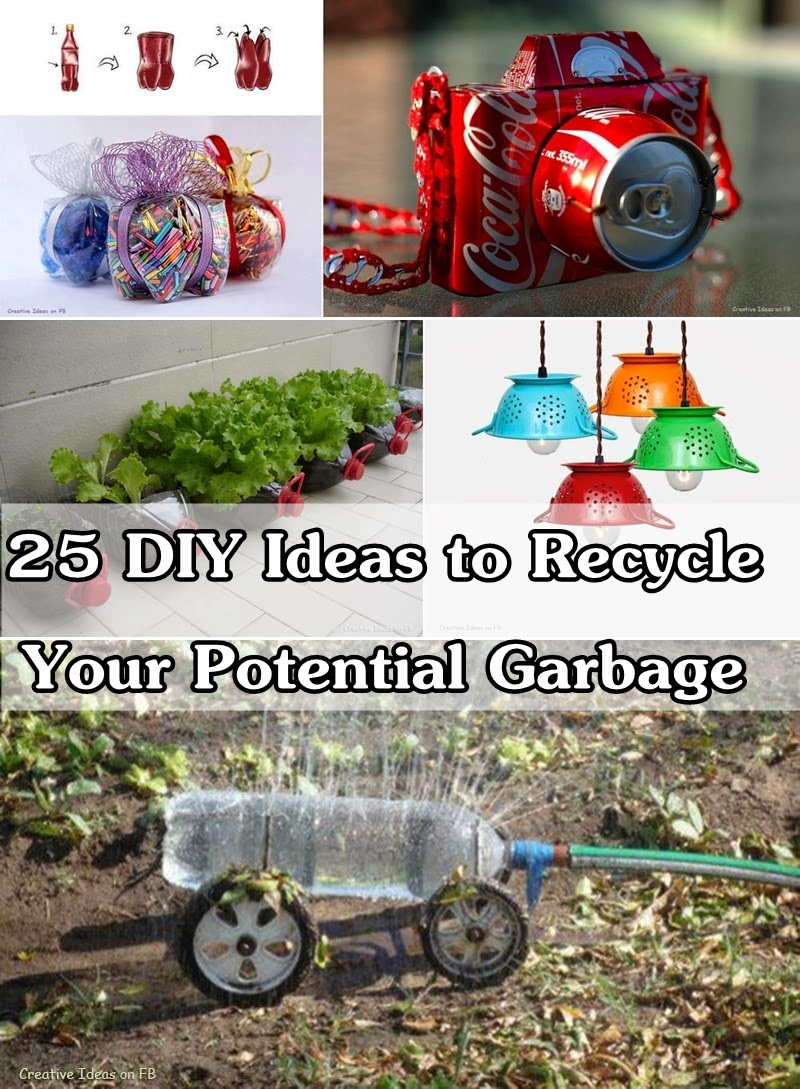 25 diy ideas to recycle your potential garbage diy craft for Diy recycle ideas