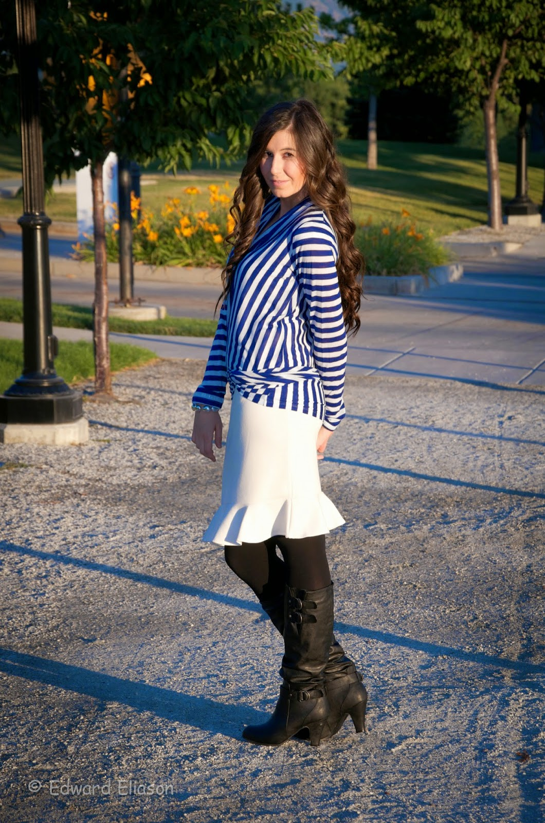 anatomie, cardigan wrap, cozy cosima, cardigan, winter outfit, fall outfit, pretty outfit, heels, boots, boots outfit, frill skirt, tulip skirt, white skirt, blue and white,