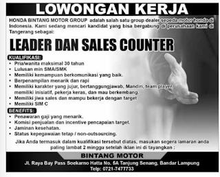 Lowongan Kerja Lampung Honda Bintang Motor Group