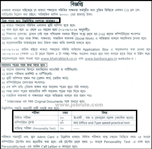 Bankura District Khatra panchayat Samiti Latest Contract Basis Block Coordinator Job Opening June 2015