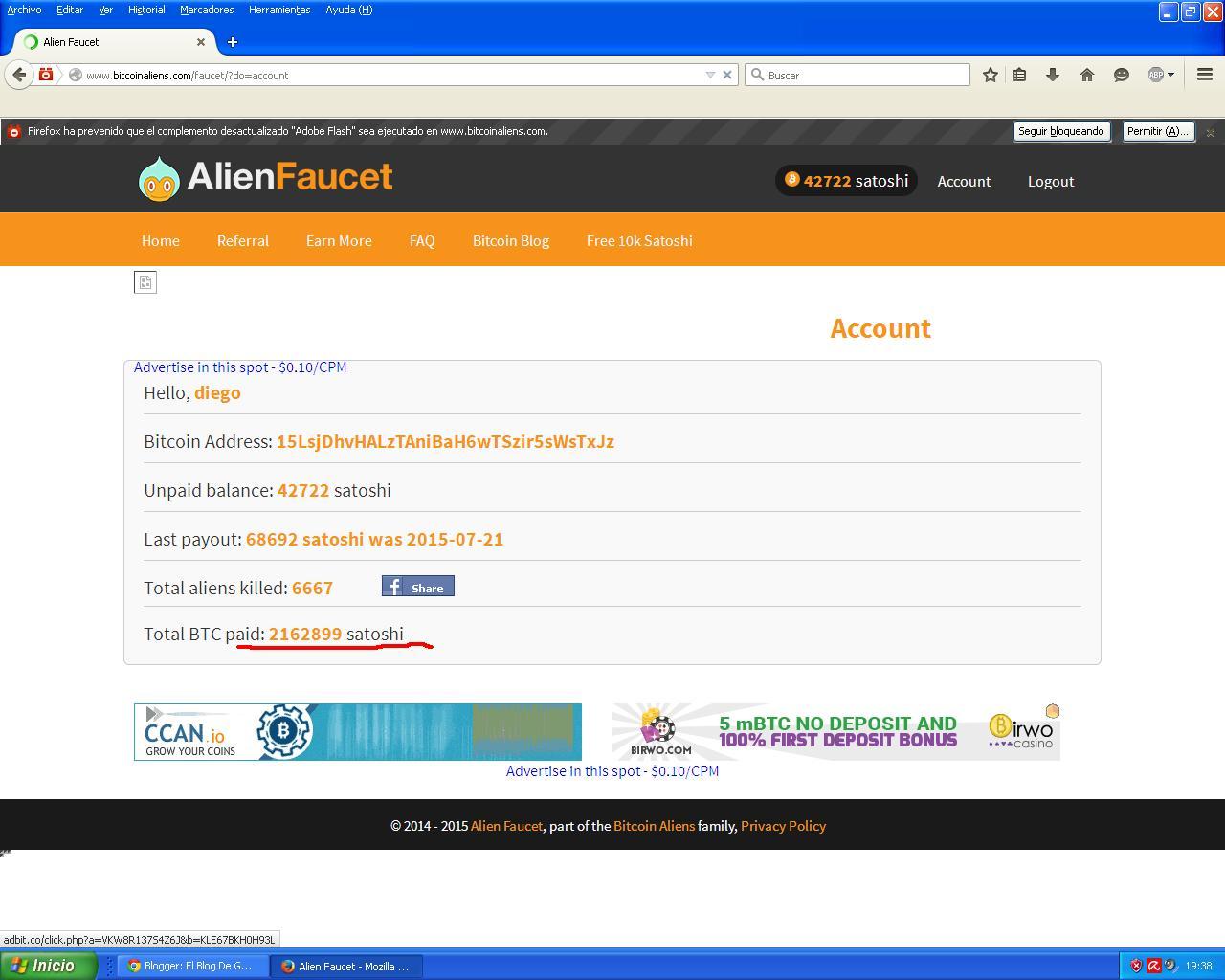 El Blog De Gana Dinero Fácil Online: Gana Satoshis Con Alien Faucet