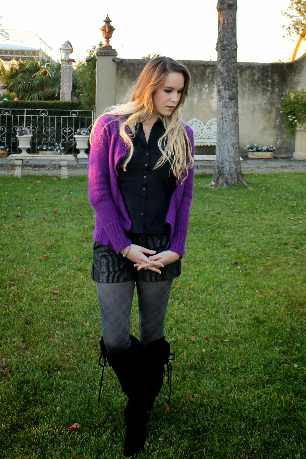 purple wool cardigan