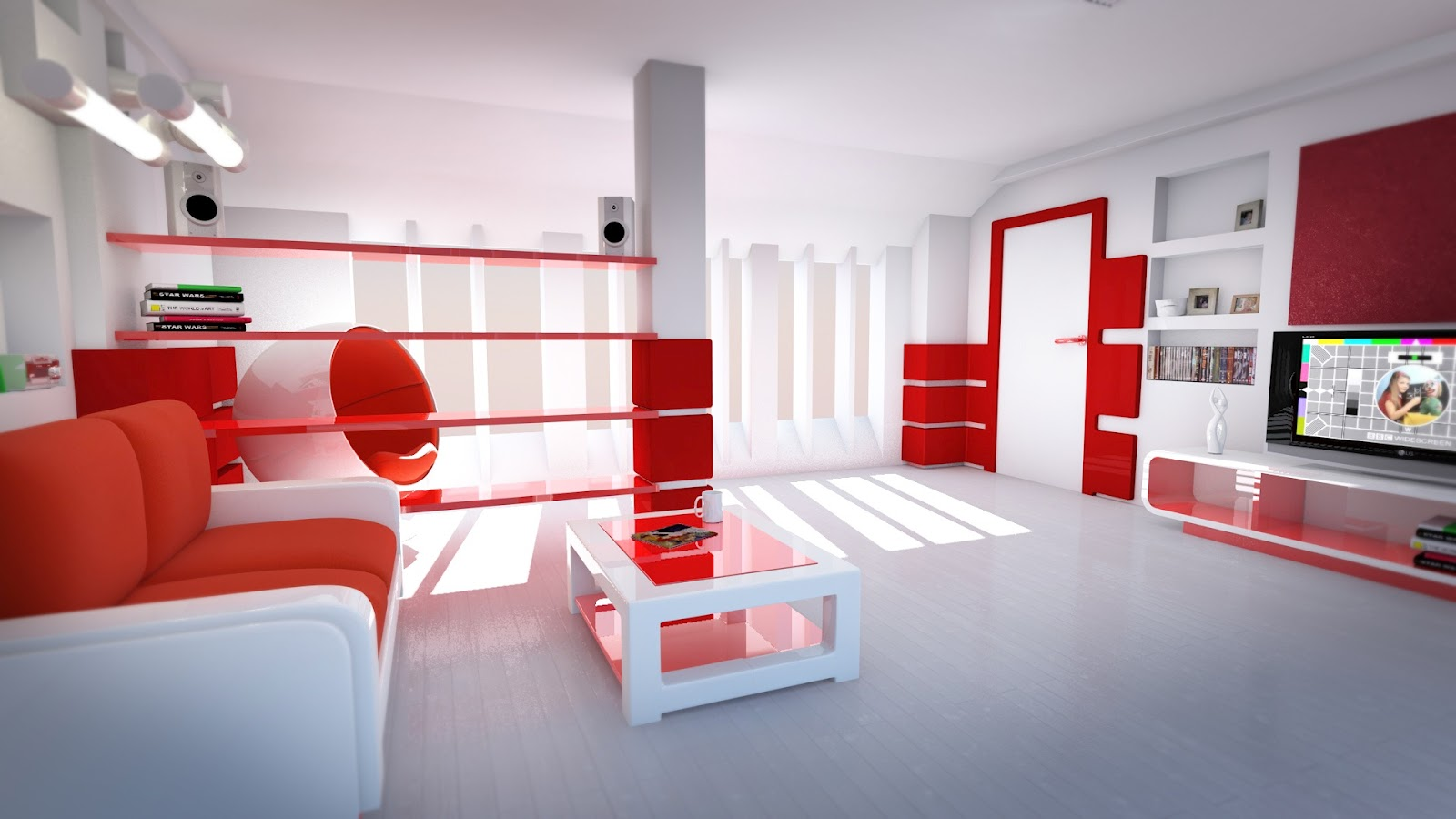 Red and White Living Room Ideas