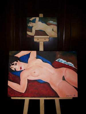 Desnudo rojo de Modigliani, al óleo
