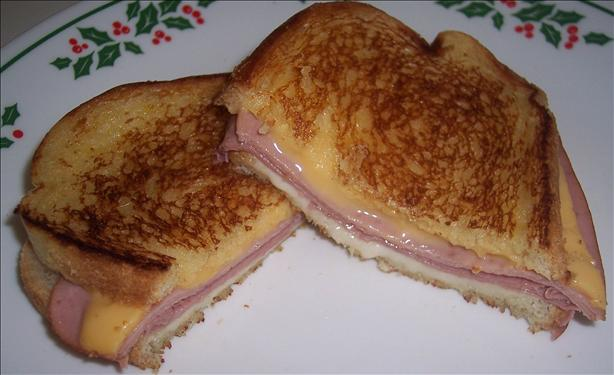 He's the cook.: Grilled ham and cheese sandwich