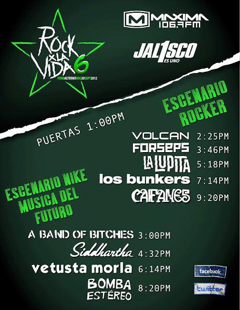 Flyer Horarios Rock x la vida 2012