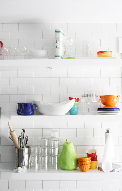 Floating Shelves Brooke Jones Designs Modern Kitchen Subway Tile