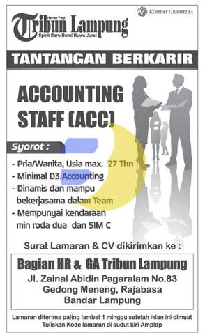Lowongan Kerja Lampung, Sabtu 17 Januari sebagai Accounting di Koran Tribun Lampung