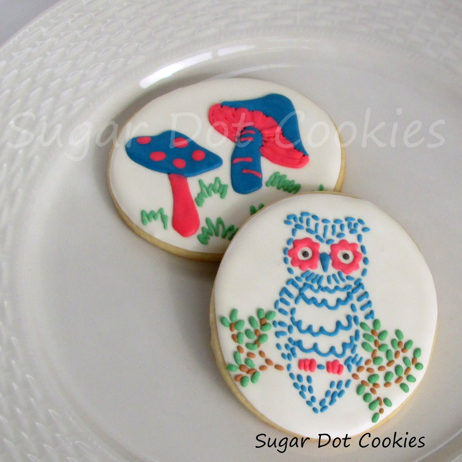 Owl Decorated Cookies Sugar Dot Cookies Embroidery Pattern Sugar Cookies Roses