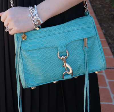 Rebecca Minkoff aquamarine mini MAC bag