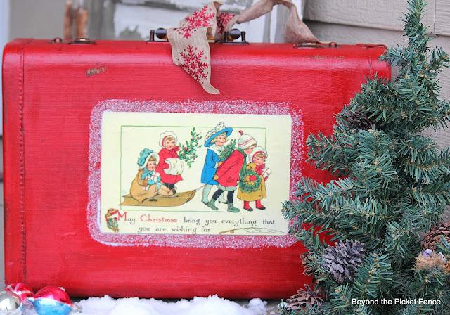 12 Days of Christmas Vintage Suitcase http://bec4-beyondthepicketfence.blogspot.com/
