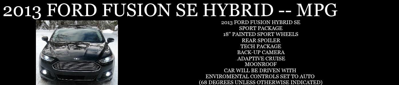 2013 FORD FUSION HYBRID SE MPG