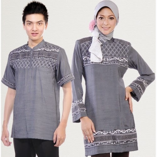 gambar baju muslim sarimbit abu-abu elegan