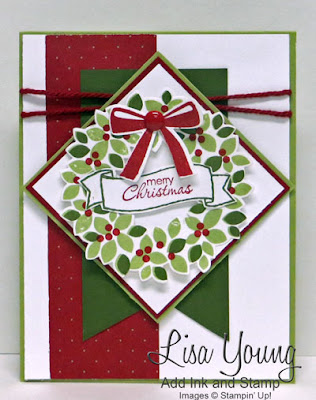 Stampin' Up! Wondrous Wreath stamp set. Handmade Christmas card by Lisa Young, Add Ink and Stamp