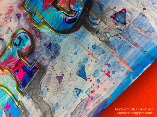 detail, mixed media art postcard by Martice Smith II