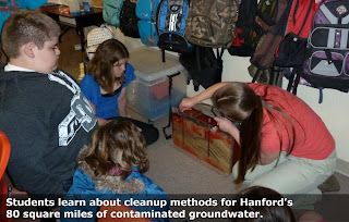 Students learn about cleanup methods for Hanford's 80 square miles of contaminated groundwater.