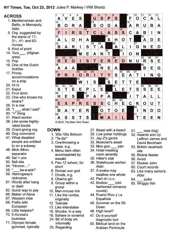10.23.12 u2014 Mail  sc 1 st  The New York Times Crossword in Gothic & The New York Times Crossword in Gothic: October 2012 25forcollege.com