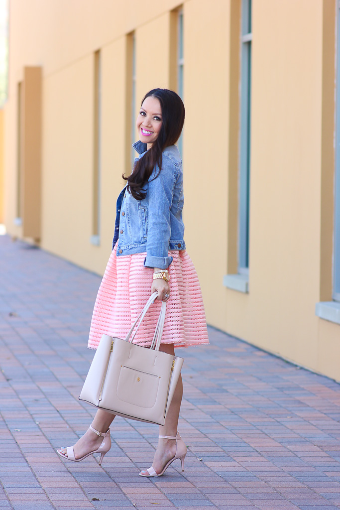 flare skirt and denim jacket stylish