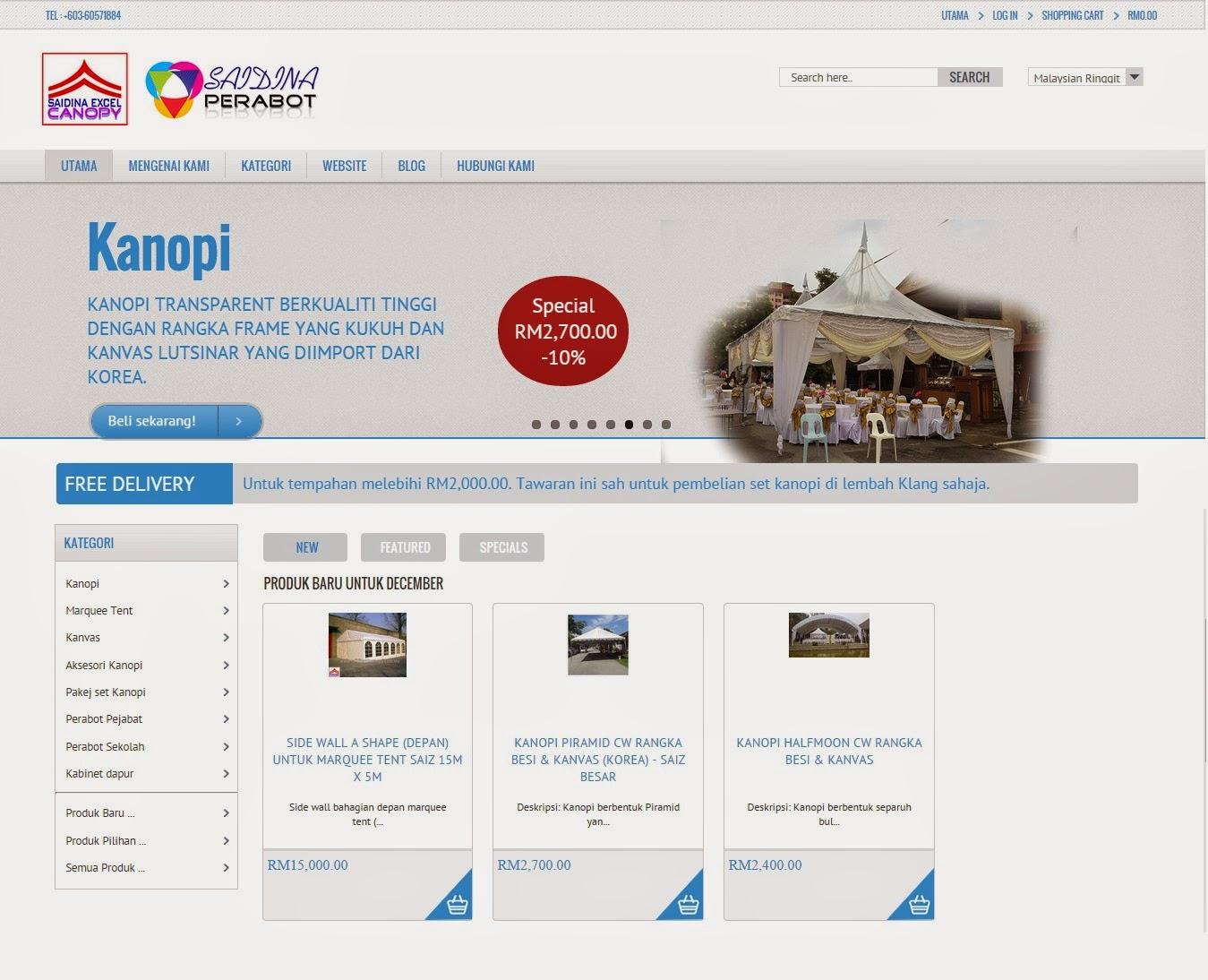 Pelancaran Mudah | One Stop Canopy & Furniture | Kedai Online