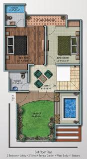 Oxford Square :: Floor Plans,Super Area 125 Sq. Yd. :-Third Floor 2 Bedroom + Lobby + 2 Toilets + Terrace Garden + Water Body + 1 Balcony