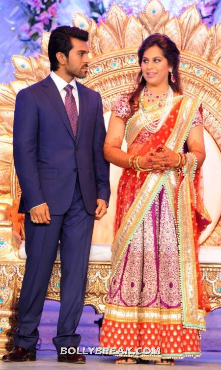 The Newly wed couple Ram Charan Teja and Upasana Kamineni - Ram Charan Teja's Upasana Kamineni Reception Pics
