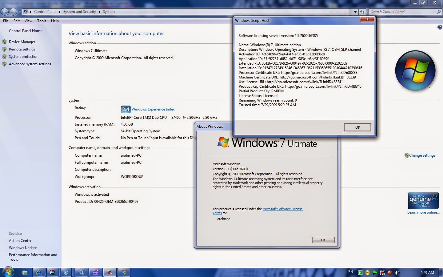 Activate Windows 7 Ultimate with OEM Product Key x64 Bit User Guide