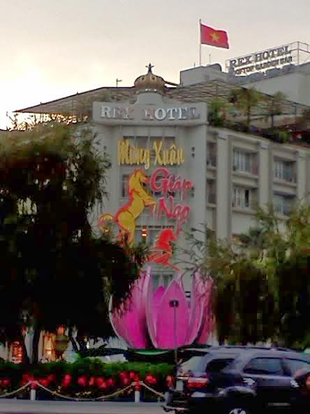 The Rex Hotel, known for its rooftop bar with panoramic Saigon view.  Tet holiday decorations too!