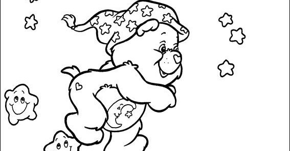 Printable Coloring Pages Care Bears Running With Stars