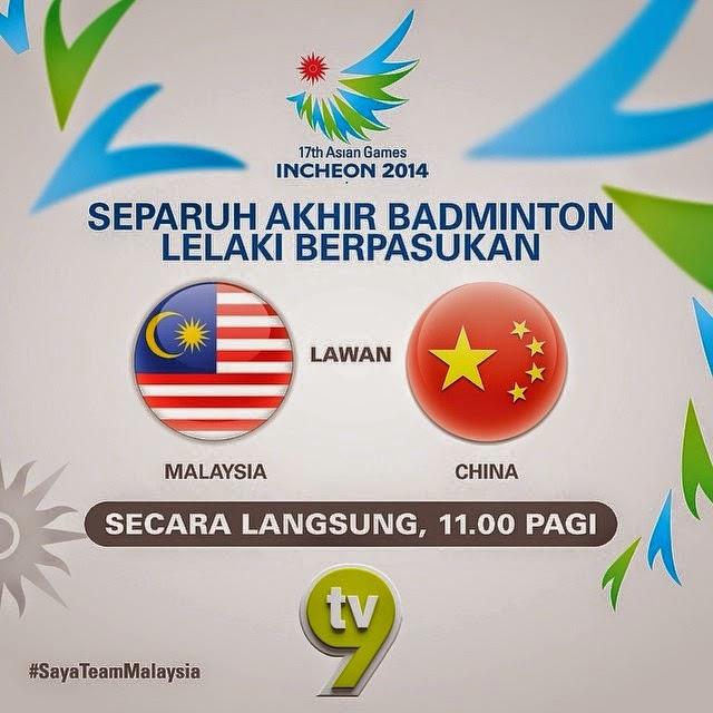 Keputusan Penuh Badminton Sukan Asia 2014 Malaysia Vs China