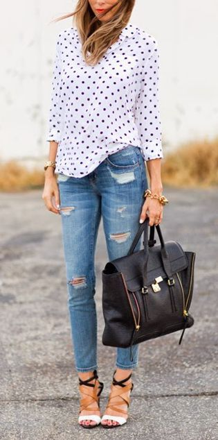Dots + distressed. #polkadots #denim