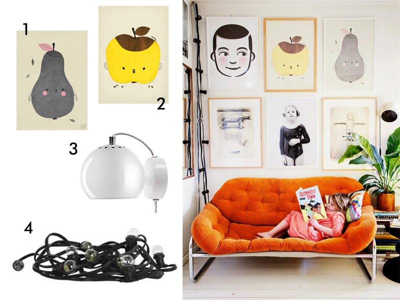 kącik wypoczynkowy w stylu retro, plakaty, pirum parum, apple papple, fine little day, decorolka, frandsen
