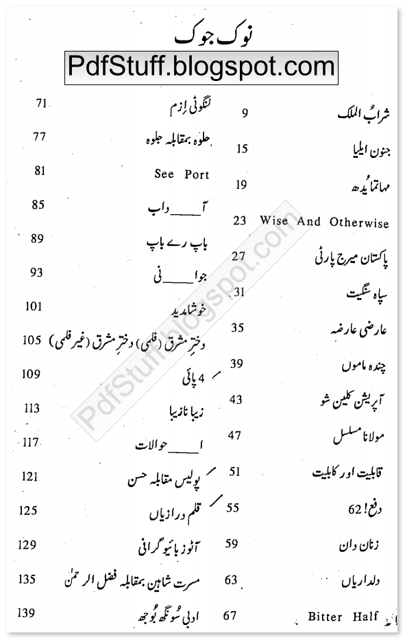 Contents of Urdu book Noke Joke