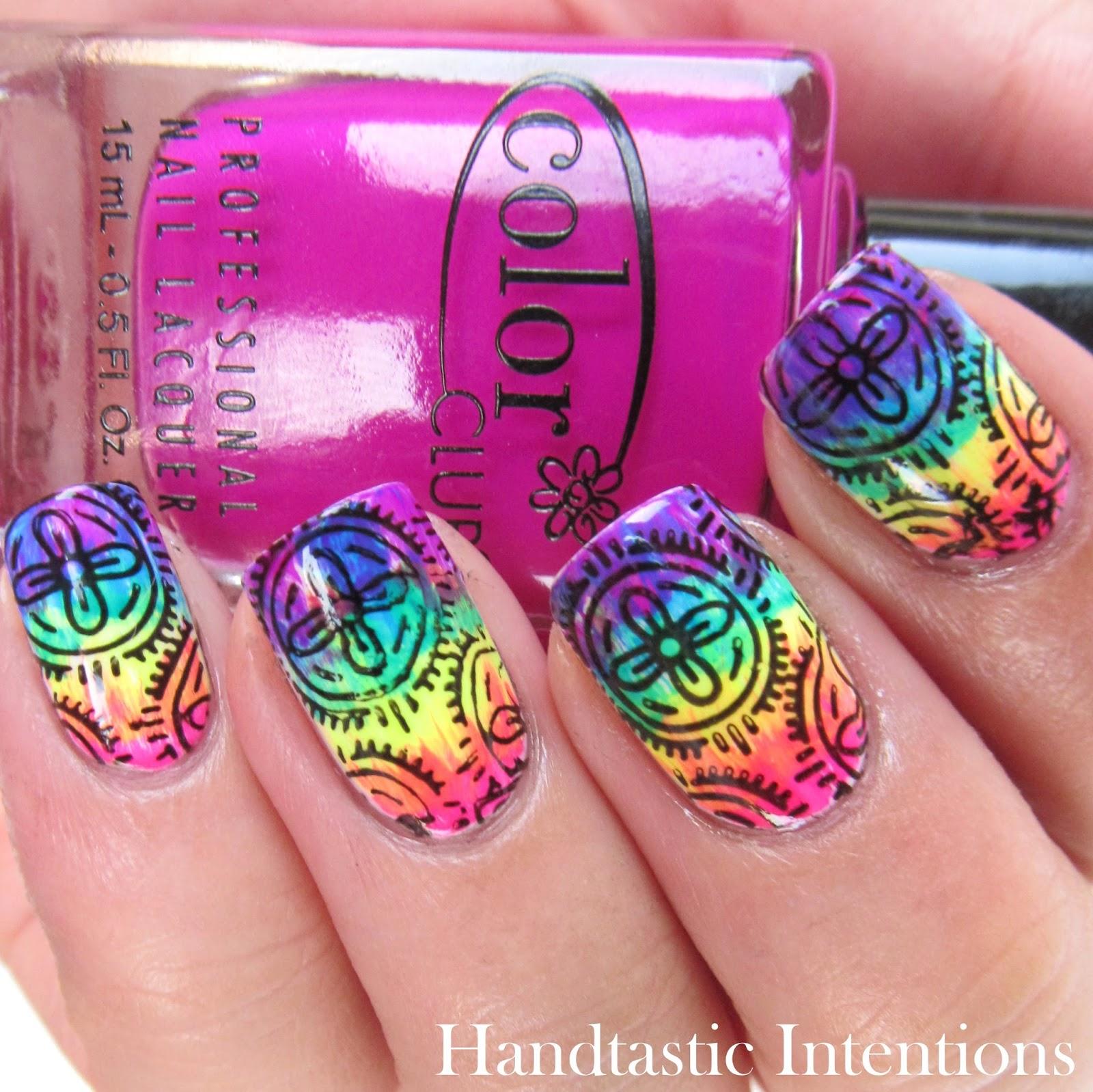 Handtastic Intentions: Neon Week Nail Art: Neon Rainbow Flowers