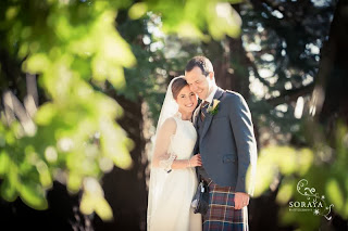 Bride with groom at a wedding in Scotland
