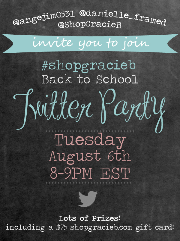 We're hosting our first-ever Twitter party to celebrate going back to school! Follow the #ShopGracieB hashtag on August 6th from 8-9pm EST to win PRIZES!
