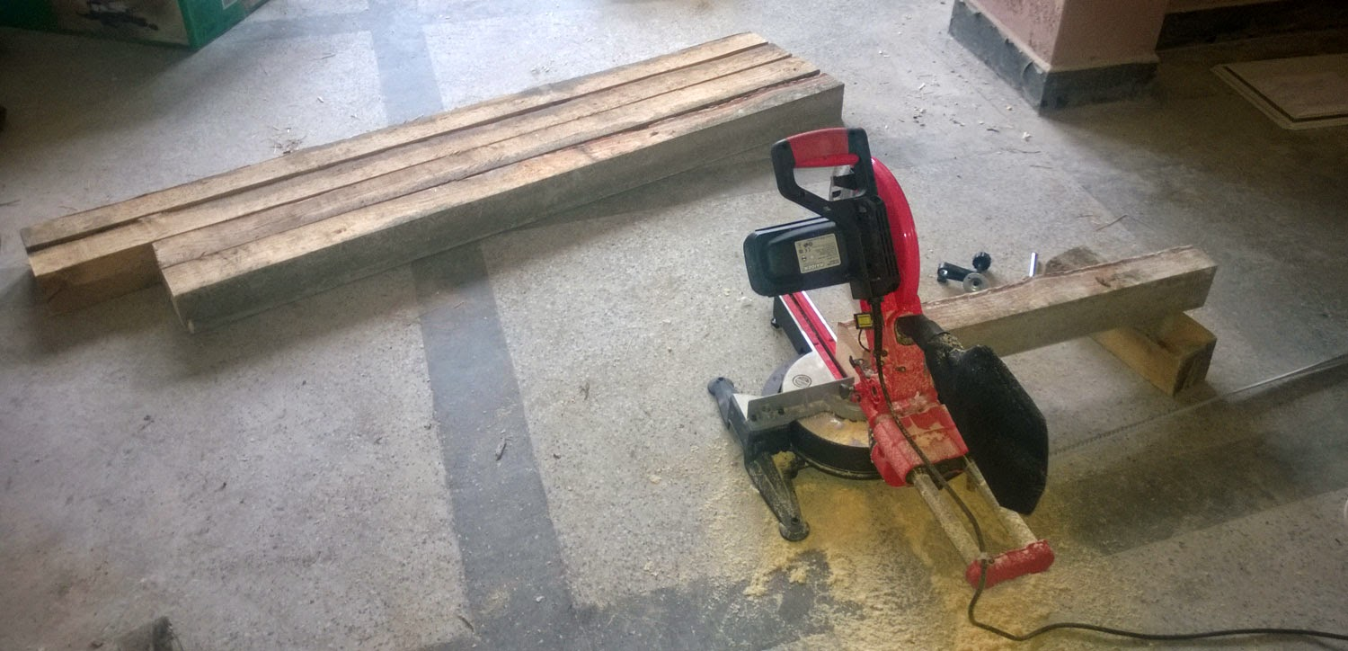 New power tool and the chopped wood