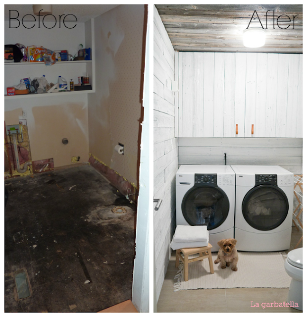Antes y después, cuarto lavado, lavandería