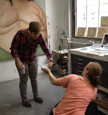 Clarity Haynes and visitor Alex Smith in her studio from Two Coats of Paint