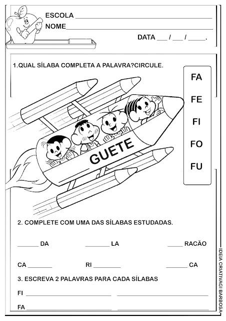 Atividade Letra F Turma da Mônica