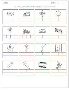 Hipótese de escrita alfabética - Alfabetização - Separe as sílabas e escreva o nome das palavras 2