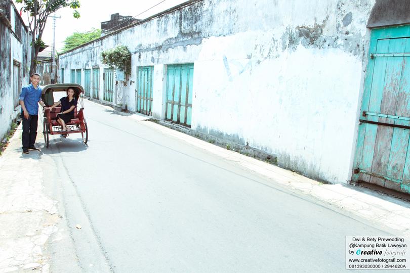 prewedding naik becak di kampung batik laweyan solo