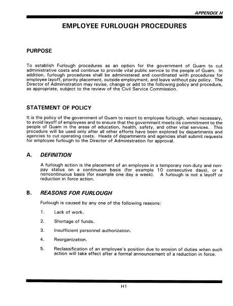 High Quality Here Is The Government Of Guam Furlough Procedures As Written In The  Personnel Rules And Regulations, Department Of Administration, Government  Of Guam.