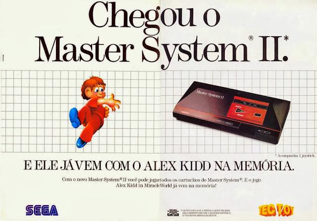 Anúncio de lançamento do Master System II da Sega. Jogo Alex Kidd na memória.