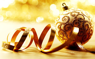 Christmas Ornaments Golden Balls Ribbon HD Wallpaper