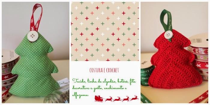 Enfeites de Natal - tecido e crochet