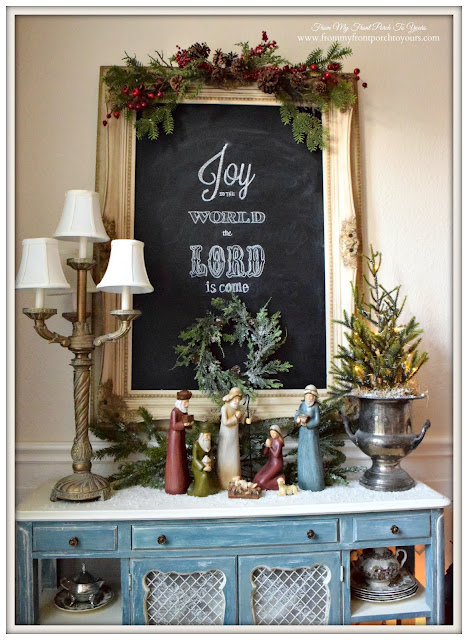 Farmhouse Christmas Dining Room-Joy To The World Chalkboard Art- From My Front Porch To Yours