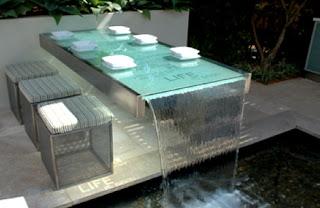 Ideias de decoração, Mesa de vidro para exterior jardim, móvel de vidro
