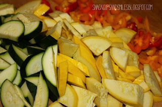 zucchini, yellow squash and baby sweet peppers