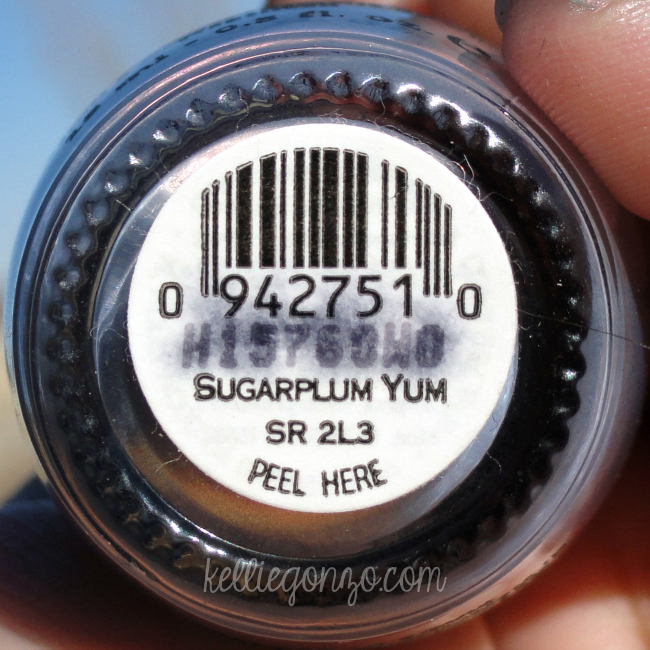 OPI Sugarplum Yum label