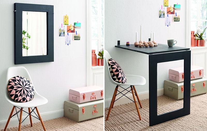 Складывающиеся столы на стене